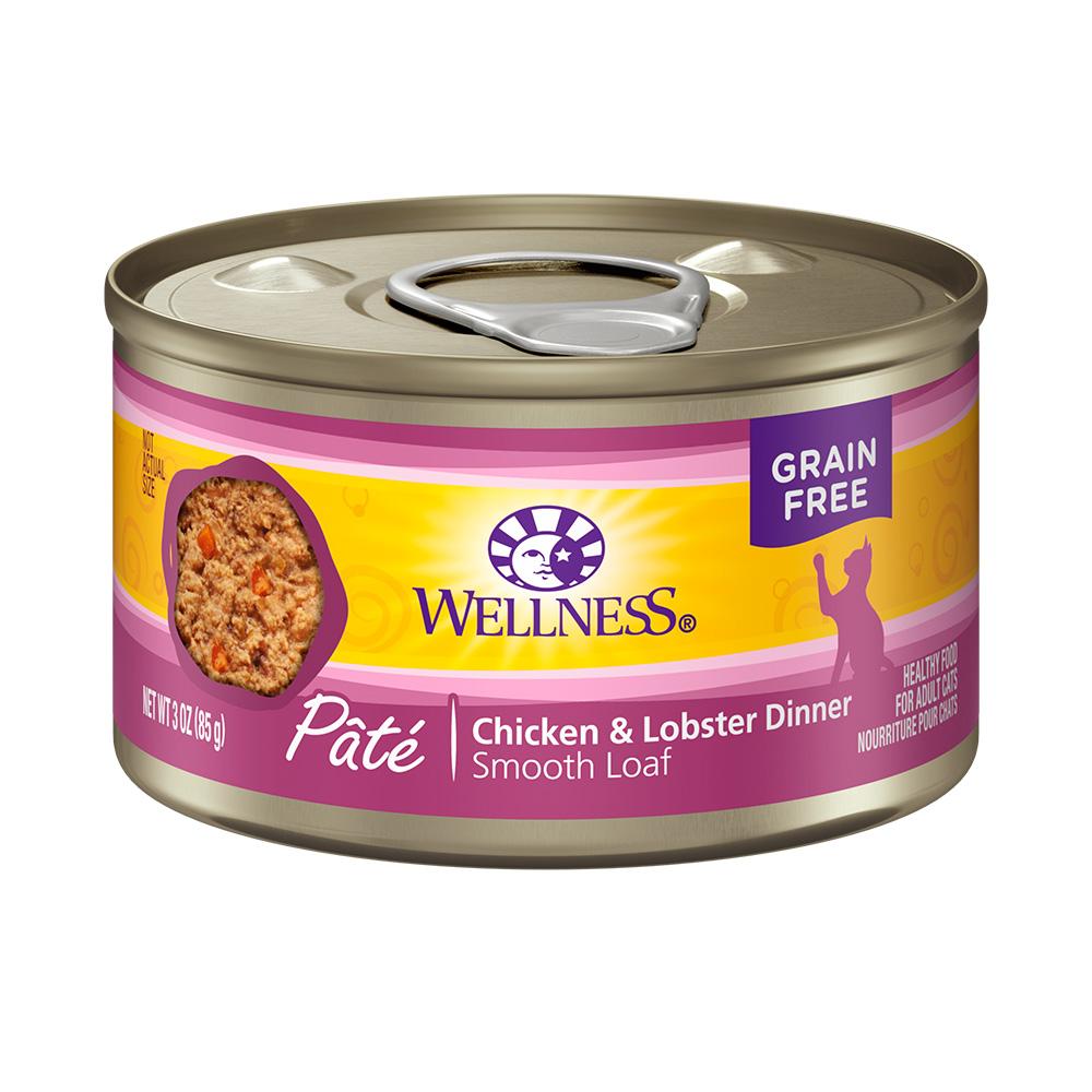 美国WELLNESS CH全方位无谷鲜肉酱成猫罐(鸡肉+龙虾)85g×24罐