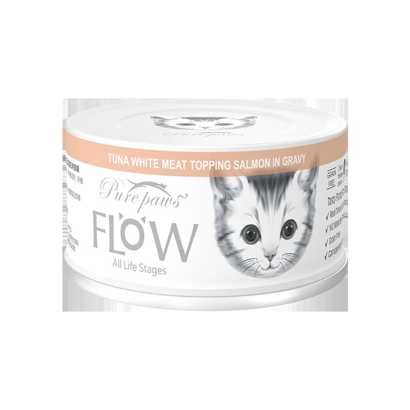 泰国PurePaws飘仕FLOW高汤补水系列白肉全猫罐-吞拿鱼+三文鱼80g×24罐